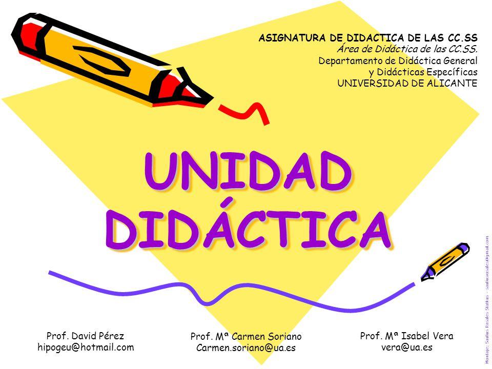 UNIDAD DIDÁCTICA Prof. David Pérez hipogeu@hotmail.com Montaje: Saulius Rosales Statkus – sauliusrosales@gmail.com ASIGNATURA DE DIDACTICA DE LAS CC.S