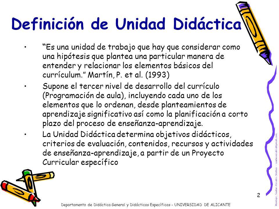 2 Definición de Unidad Didáctica Es una unidad de trabajo que hay que considerar como una hipótesis que plantea una particular manera de entender y re