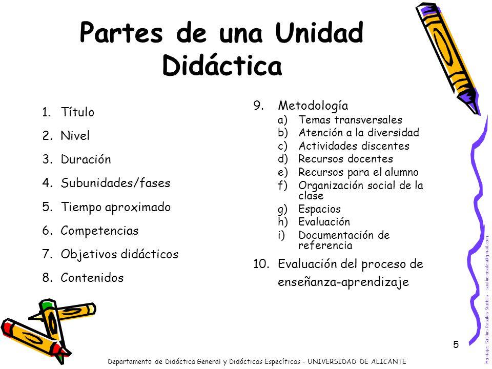 5 Partes de una Unidad Didáctica 1.Título 2.Nivel 3.Duración 4.Subunidades/fases 5.Tiempo aproximado 6.Competencias 7.Objetivos didácticos 8.Contenido