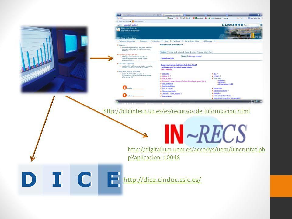 http://dice.cindoc.csic.es/ http://digitalium.uem.es/accedys/uem/0incrustat.ph p?aplicacion=10048 http://biblioteca.ua.es/es/recursos-de-informacion.h