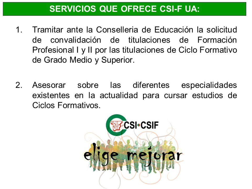1.Tramitar ante la Conselleria de Educación la solicitud de convalidación de titulaciones de Formación Profesional I y II por las titulaciones de Cicl