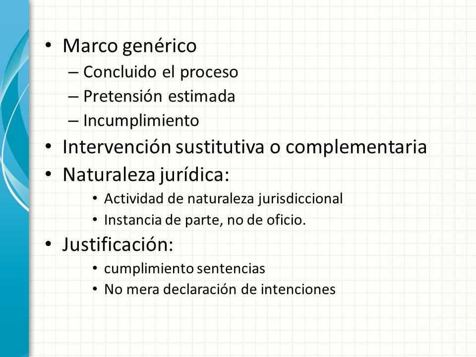 Marco genérico – Concluido el proceso – Pretensión estimada – Incumplimiento Intervención sustitutiva o complementaria Naturaleza jurídica: Actividad