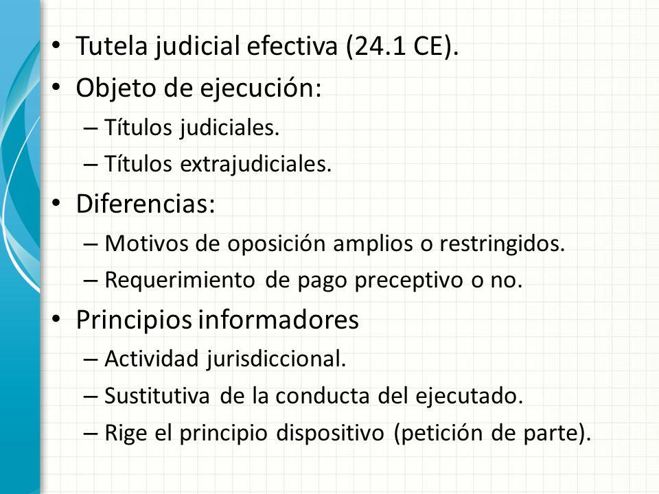 Tutela judicial efectiva (24.1 CE). Objeto de ejecución: – Títulos judiciales. – Títulos extrajudiciales. Diferencias: – Motivos de oposición amplios