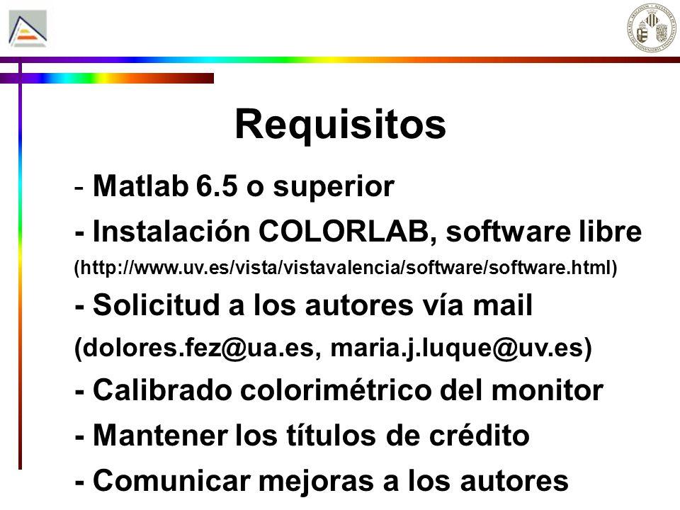 Requisitos - Matlab 6.5 o superior - Instalación COLORLAB, software libre (http://www.uv.es/vista/vistavalencia/software/software.html) - Solicitud a los autores vía mail (dolores.fez@ua.es, maria.j.luque@uv.es) - Calibrado colorimétrico del monitor - Mantener los títulos de crédito - Comunicar mejoras a los autores