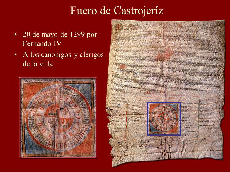 Fuero de Castrojeríz 20 de mayo de 1299 por Fernando IV A los canónigos y clérigos de la villa