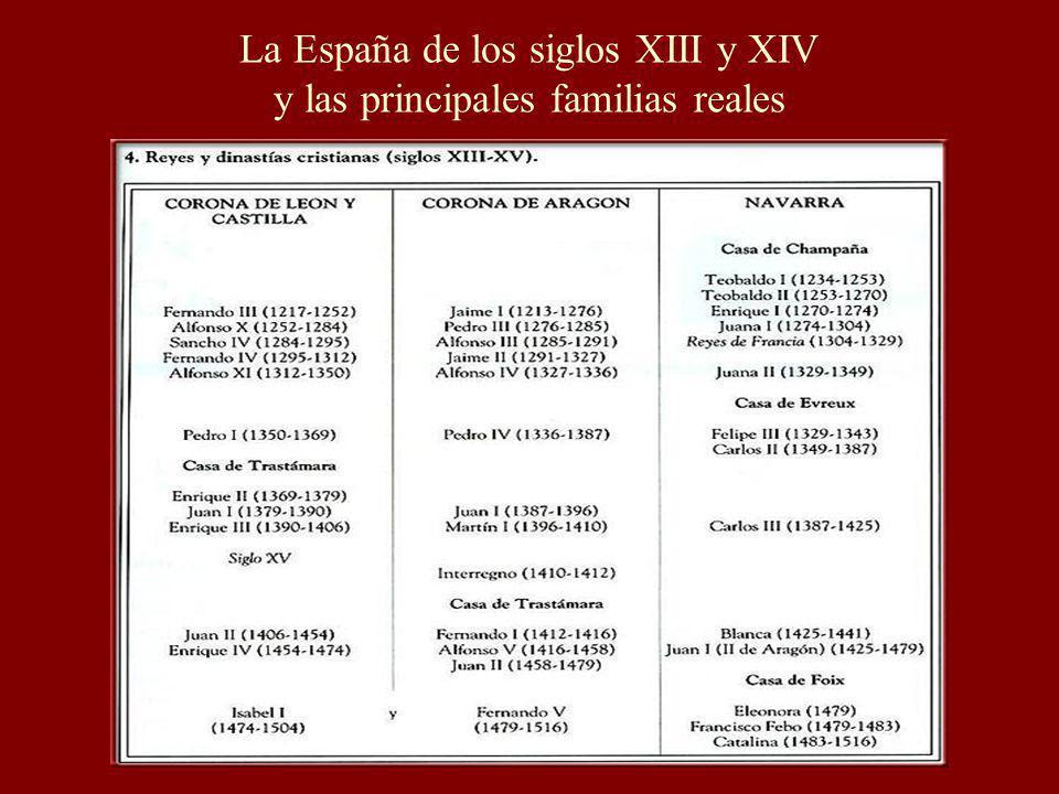 La España de los siglos XIII y XIV y las principales familias reales