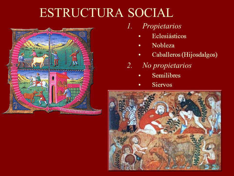ESTRUCTURA SOCIAL 1.Propietarios Eclesiásticos Nobleza Caballeros (Hijosdalgos) 2.No propietarios Semilibres Siervos