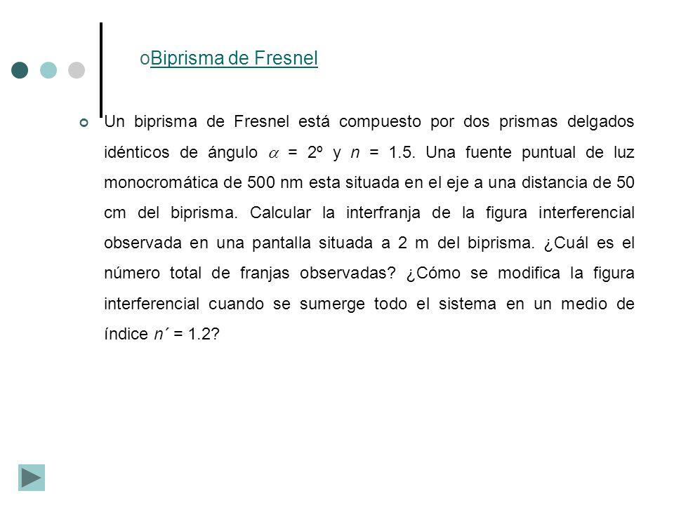 oBiprisma de FresnelBiprisma de Fresnel Un biprisma de Fresnel está compuesto por dos prismas delgados idénticos de ángulo = 2º y n = 1.5. Una fuente