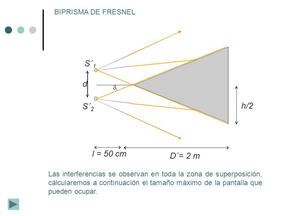 h/2 D´= 2 m l = 50 cm d S´ 2 S´ 1 BIPRISMA DE FRESNEL Las interferencias se observan en toda la zona de superposición, cálcularemos a continuación el