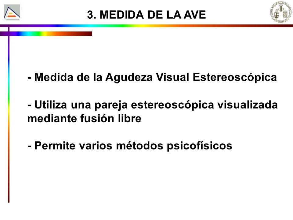 3. MEDIDA DE LA AVE - Medida de la Agudeza Visual Estereoscópica - Utiliza una pareja estereoscópica visualizada mediante fusión libre - Permite vario