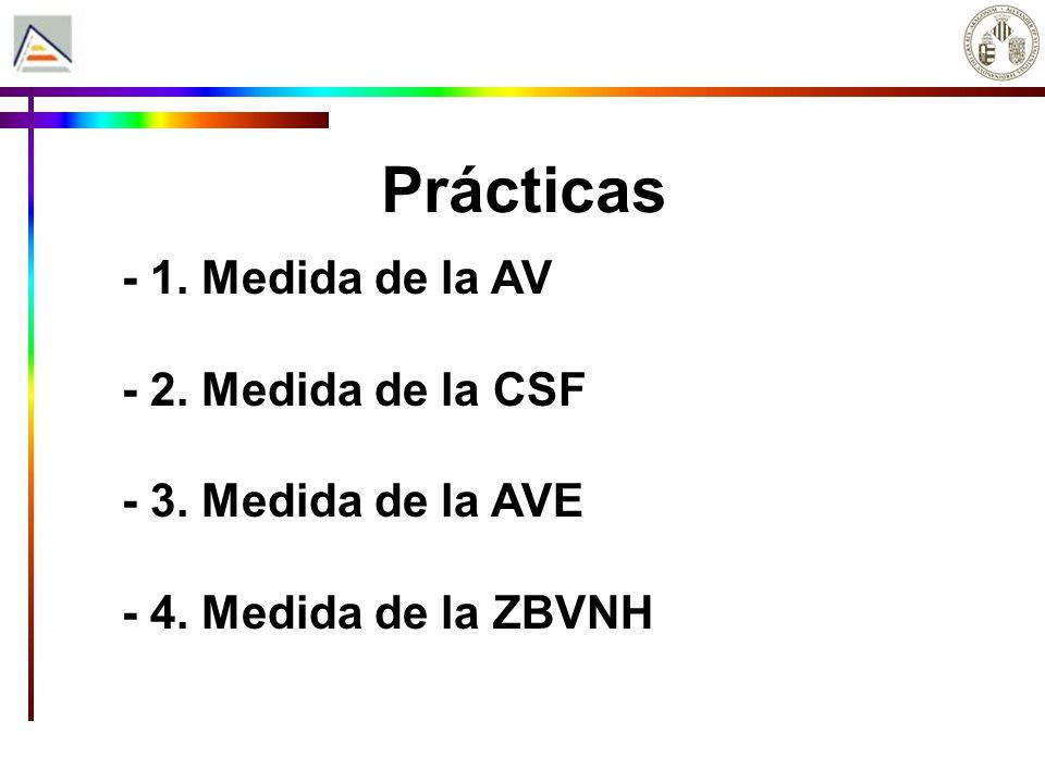 Prácticas - 1. Medida de la AV - 2. Medida de la CSF - 3. Medida de la AVE - 4. Medida de la ZBVNH