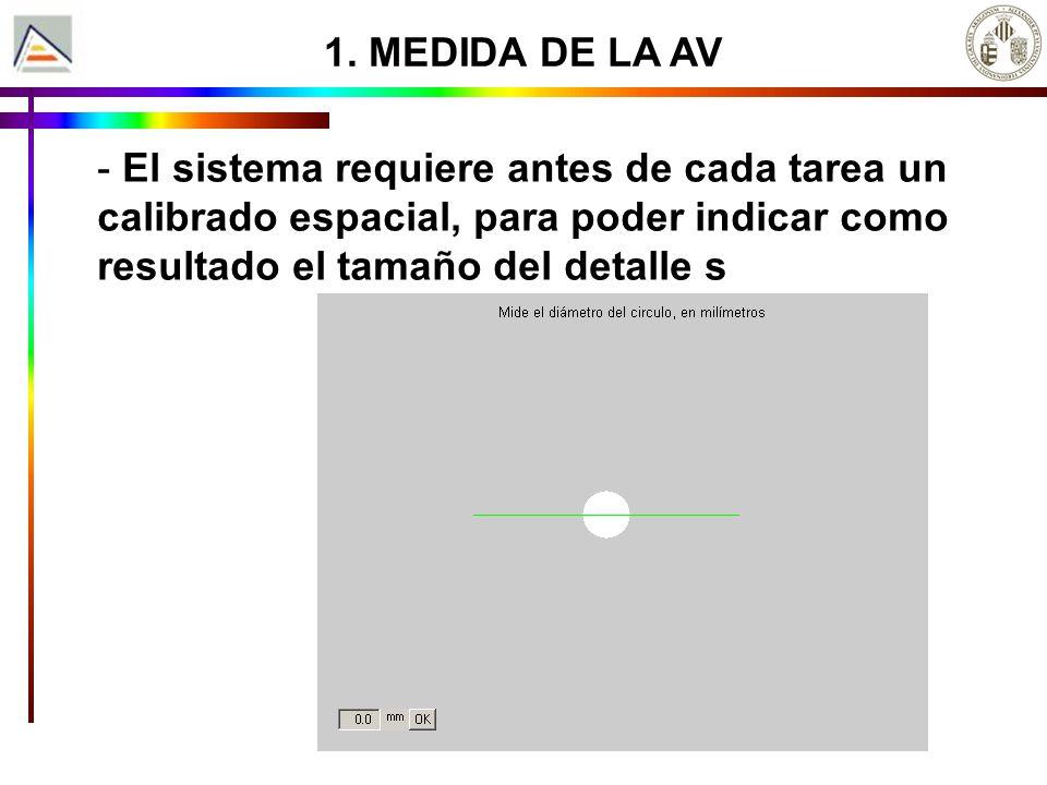 - El sistema requiere antes de cada tarea un calibrado espacial, para poder indicar como resultado el tamaño del detalle s