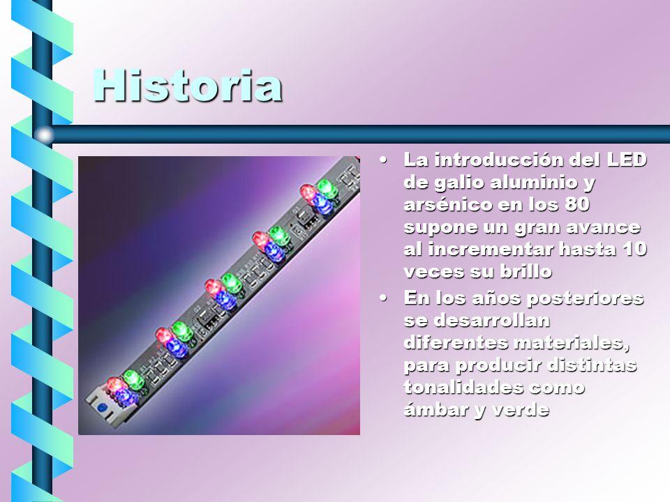 Historia La introducción del LED de galio aluminio y arsénico en los 80 supone un gran avance al incrementar hasta 10 veces su brillo En los años post