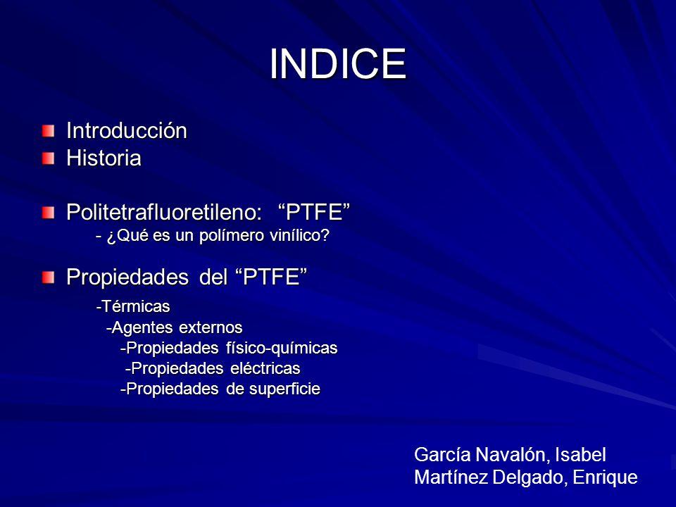 INDICE IntroducciónHistoria Politetrafluoretileno: PTFE - ¿Qué es un polímero vinílico? - ¿Qué es un polímero vinílico? Propiedades del PTFE - Térmica