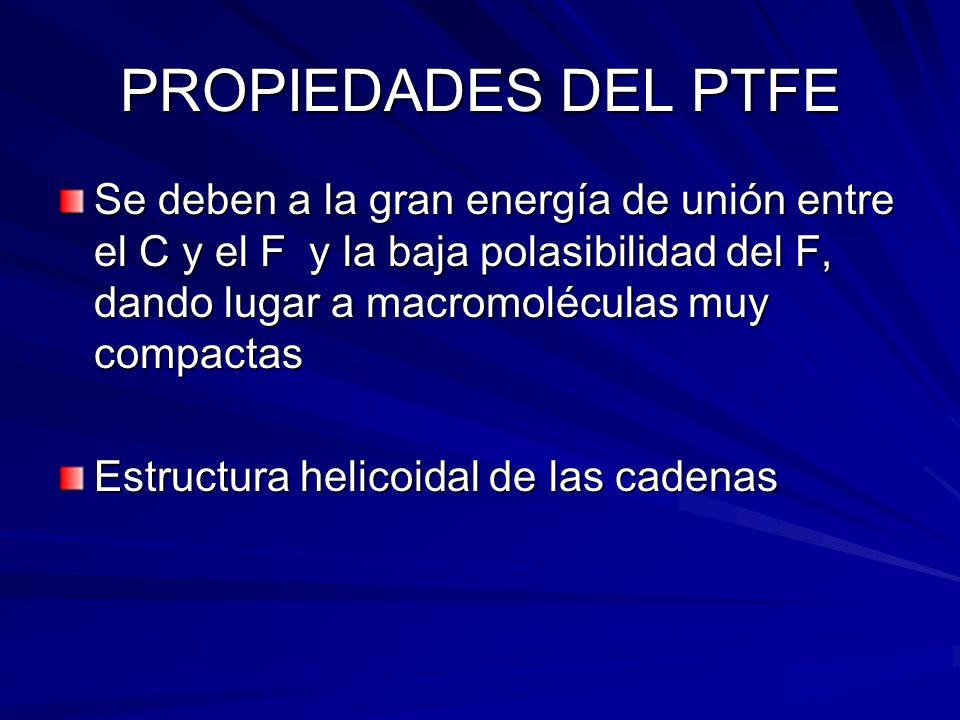 PROPIEDADES DEL PTFE Se deben a la gran energía de unión entre el C y el F y la baja polasibilidad del F, dando lugar a macromoléculas muy compactas E