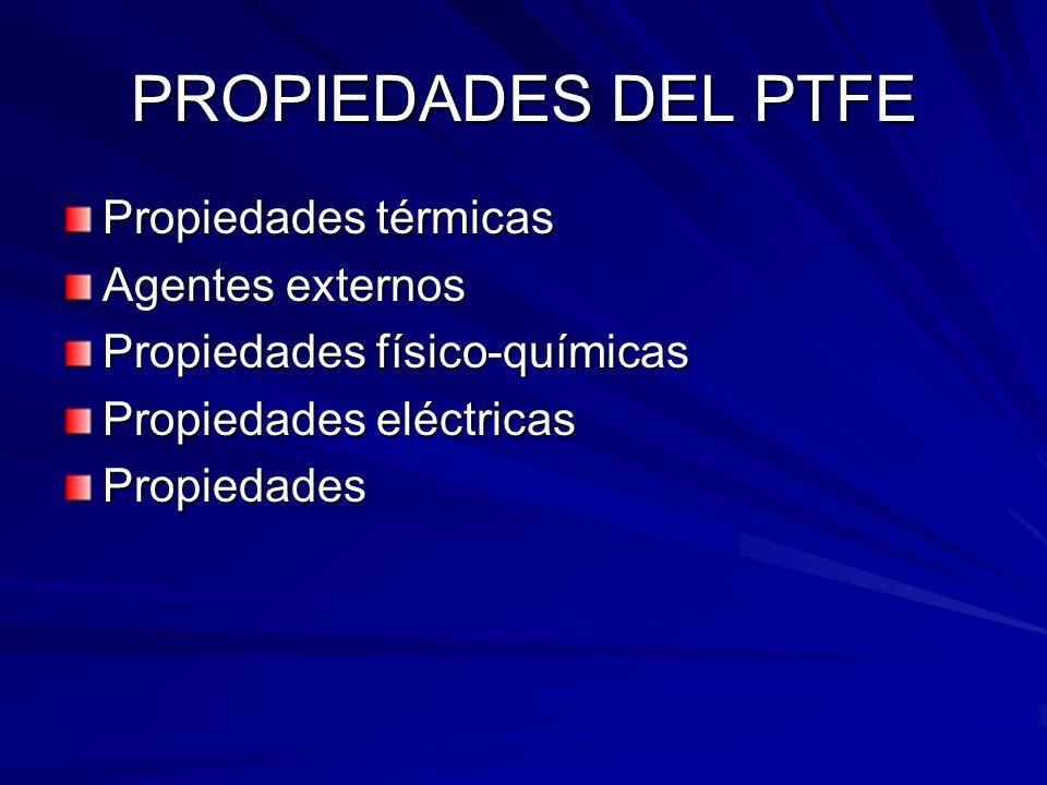PROPIEDADES DEL PTFE Propiedades térmicas Agentes externos Propiedades físico-químicas Propiedades eléctricas Propiedades