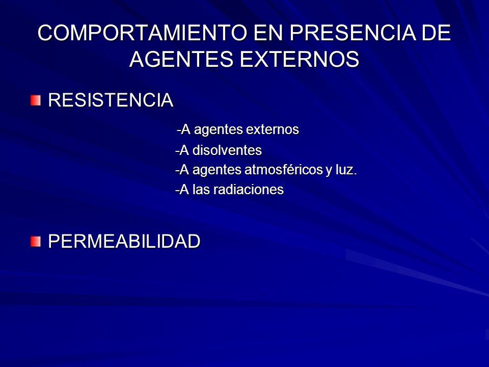 COMPORTAMIENTO EN PRESENCIA DE AGENTES EXTERNOS RESISTENCIA -A agentes externos -A agentes externos -A disolventes -A disolventes -A agentes atmosféri