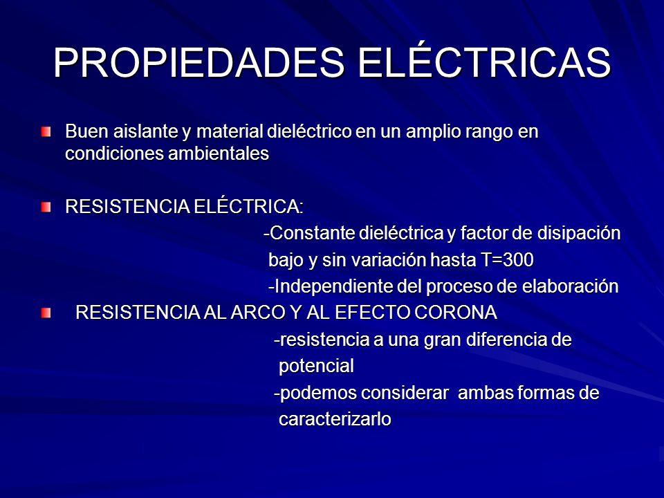 PROPIEDADES ELÉCTRICAS Buen aislante y material dieléctrico en un amplio rango en condiciones ambientales RESISTENCIA ELÉCTRICA: -Constante dieléctric