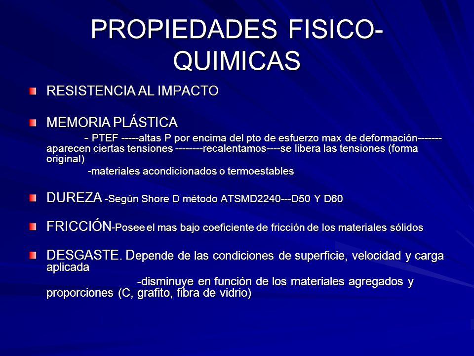 PROPIEDADES FISICO- QUIMICAS RESISTENCIA AL IMPACTO MEMORIA PLÁSTICA - PTEF -----altas P por encima del pto de esfuerzo max de deformación------- apar