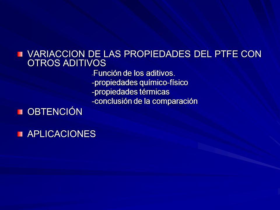 VARIACCION DE LAS PROPIEDADES DEL PTFE CON OTROS ADITIVOS - Función de los aditivos. - Función de los aditivos. -propiedades químico-físico -propiedad