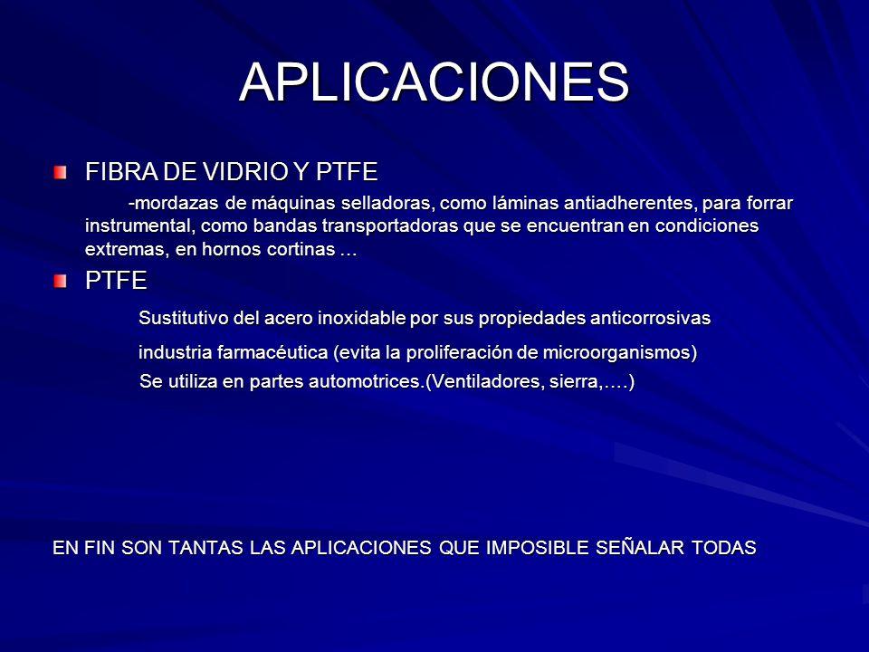 APLICACIONES FIBRA DE VIDRIO Y PTFE -mordazas de máquinas selladoras, como láminas antiadherentes, para forrar instrumental, como bandas transportador