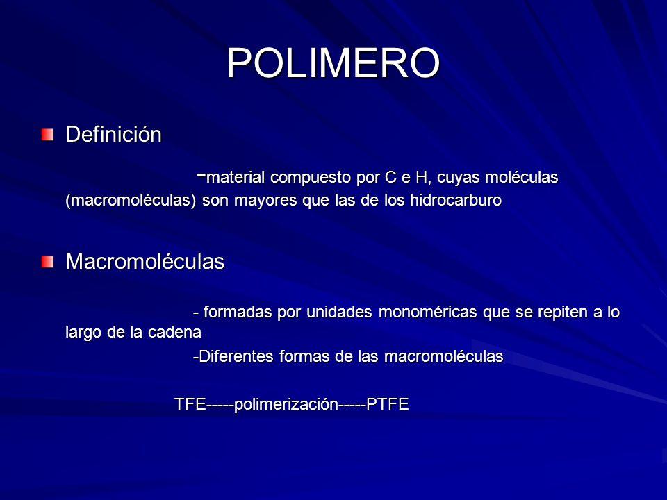 POLIMERO Definición - material compuesto por C e H, cuyas moléculas (macromoléculas) son mayores que las de los hidrocarburo - material compuesto por