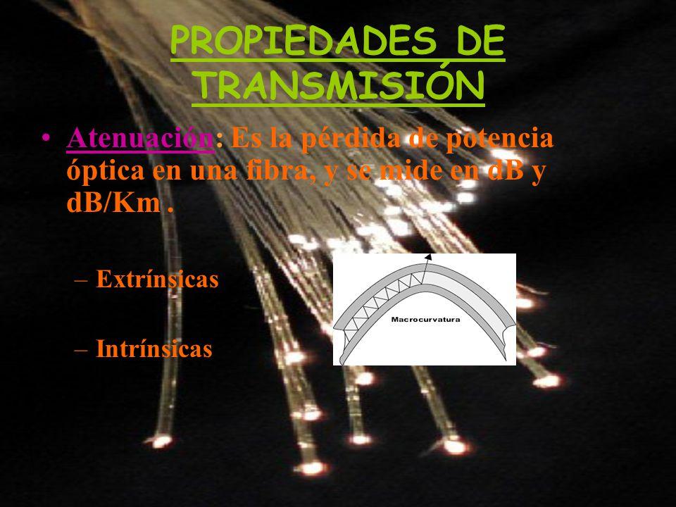PROPIEDADES DE TRANSMISIÓN Atenuación: Es la pérdida de potencia óptica en una fibra, y se mide en dB y dB/Km. –Extrínsicas –Intrínsicas