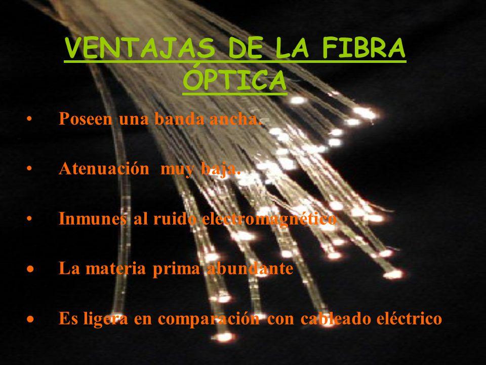 VENTAJAS DE LA FIBRA ÓPTICA Poseen una banda ancha. Atenuación muy baja. Inmunes al ruido electromagnético La materia prima abundante Es ligera en com