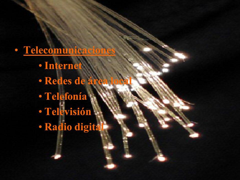 Telecomunicaciones Internet Redes de área local Telefonía Televisión Radio digital
