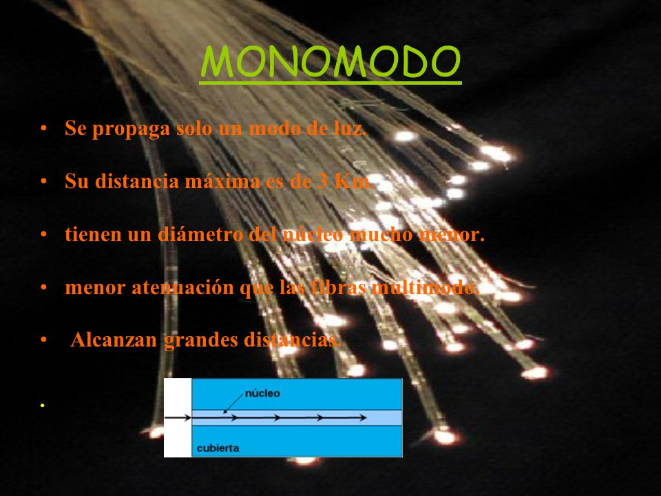 MONOMODO Se propaga solo un modo de luz. Su distancia máxima es de 3 Km. tienen un diámetro del núcleo mucho menor. menor atenuación que las fibras mu