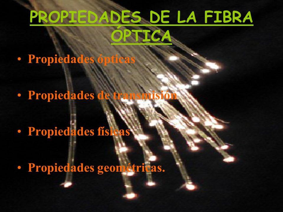 PROPIEDADES DE LA FIBRA ÓPTICA Propiedades ópticas Propiedades de transmisión Propiedades físicas Propiedades geométricas.