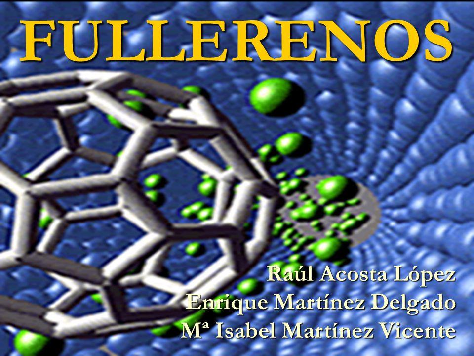 Síntesis Método Kroto (1990, Sussex) Descarga de arco Descarga de arco En lugar de rayos láser se utilizan corrientes eléctricas de alta tensión En lugar de rayos láser se utilizan corrientes eléctricas de alta tensión Se calientan varillas de grafito de 6 a 7 cm en una campana de cristal durante 15-20 segundos Se calientan varillas de grafito de 6 a 7 cm en una campana de cristal durante 15-20 segundos Atmósfera de 100 torr de Helio Atmósfera de 100 torr de Helio Utiliza placas de recolección de KBr Utiliza placas de recolección de KBr