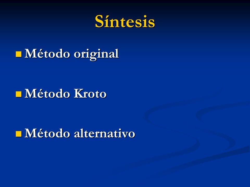 Síntesis Método original Método original Método Kroto Método Kroto Método alternativo Método alternativo
