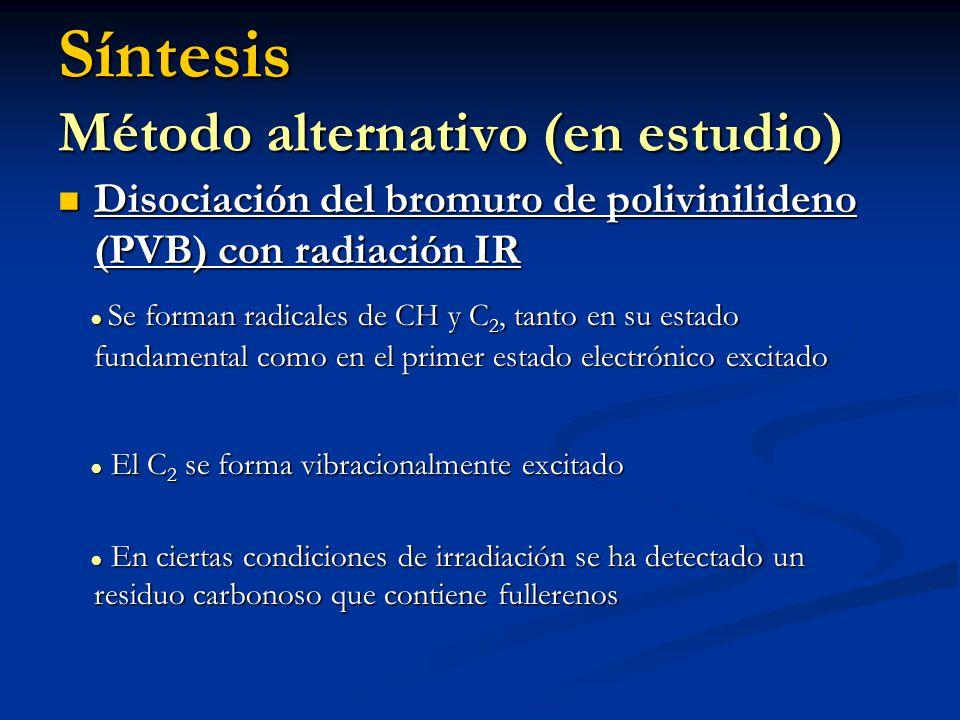 Síntesis Método alternativo (en estudio) Disociación del bromuro de polivinilideno (PVB) con radiación IR Disociación del bromuro de polivinilideno (P