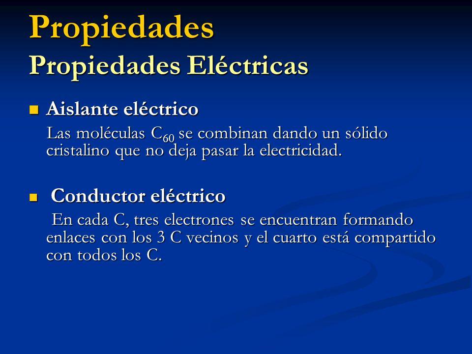 Propiedades Propiedades Eléctricas Aislante eléctrico Aislante eléctrico Las moléculas C 60 se combinan dando un sólido cristalino que no deja pasar l