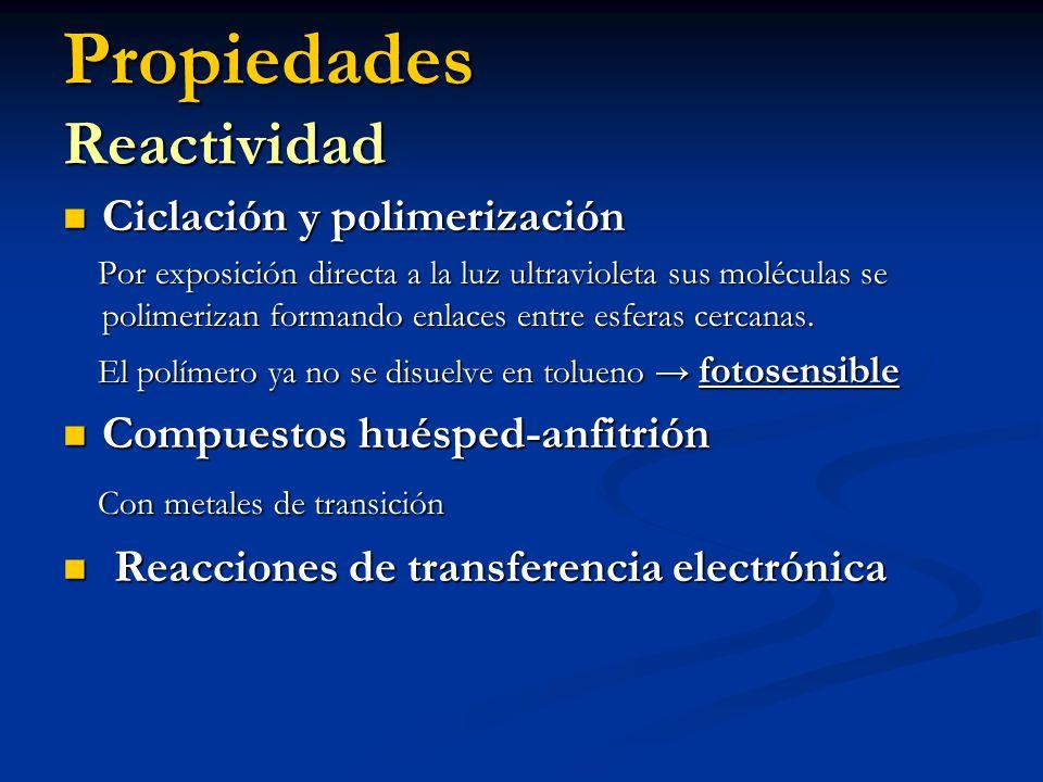 Propiedades Reactividad Ciclación y polimerización Ciclación y polimerización Por exposición directa a la luz ultravioleta sus moléculas se polimeriza