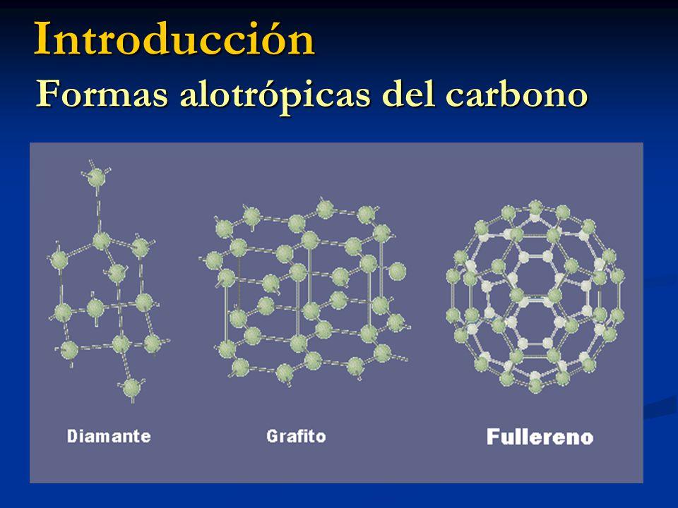 Introducción Formas alotrópicas del carbono Diamante Diamante 4 enlaces covalentes (sp 3 ) dureza 4 enlaces covalentes (sp 3 ) dureza Cada 5 átomos de carbono forman Cada 5 átomos de carbono forman un tetraedro, 4 ángulos 109.5º un tetraedro, 4 ángulos 109.5º Se unen entre sí a otros cuatro Se unen entre sí a otros cuatro dando una estructura de blenda dando una estructura de blenda