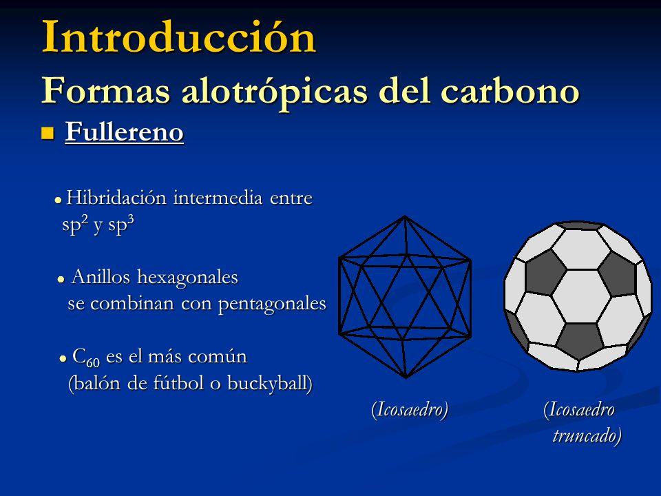 Introducción Características de los fullerenos Estructuras cerradas sobre si mismas (C 6 y C 5 ) Estructuras cerradas sobre si mismas (C 6 y C 5 ) Presentan 120 operaciones de simetría la molécula más simétrica (C 7 imperfecciones) Presentan 120 operaciones de simetría la molécula más simétrica (C 7 imperfecciones) Cumple teorema de Eüler: c + v = a + 2 Cumple teorema de Eüler: c + v = a + 2 7Å D m 15Å (6 a 10 veces > que el del átomo C) 7Å D m 15Å (6 a 10 veces > que el del átomo C)