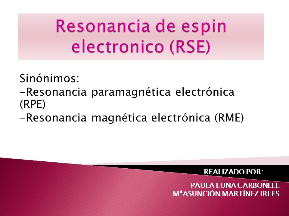 resonancia de electrones desapareados dentro de un campo magnético.(Definición simple) resonancia magnética nuclear en la que el momento bipolar magnético que interacciona con el campo magnético externo lo aporta un electrón en lugar de un núcleo.