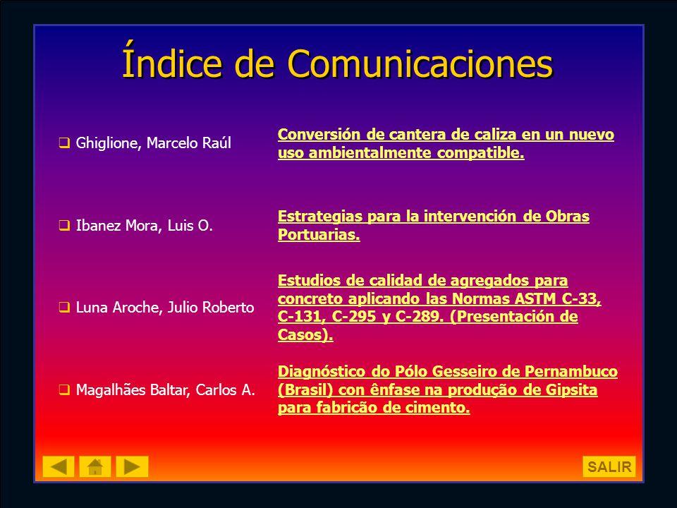 Índice de Comunicaciones Ghiglione, Marcelo Raúl Conversión de cantera de caliza en un nuevo uso ambientalmente compatible. Ibanez Mora, Luis O. Estra