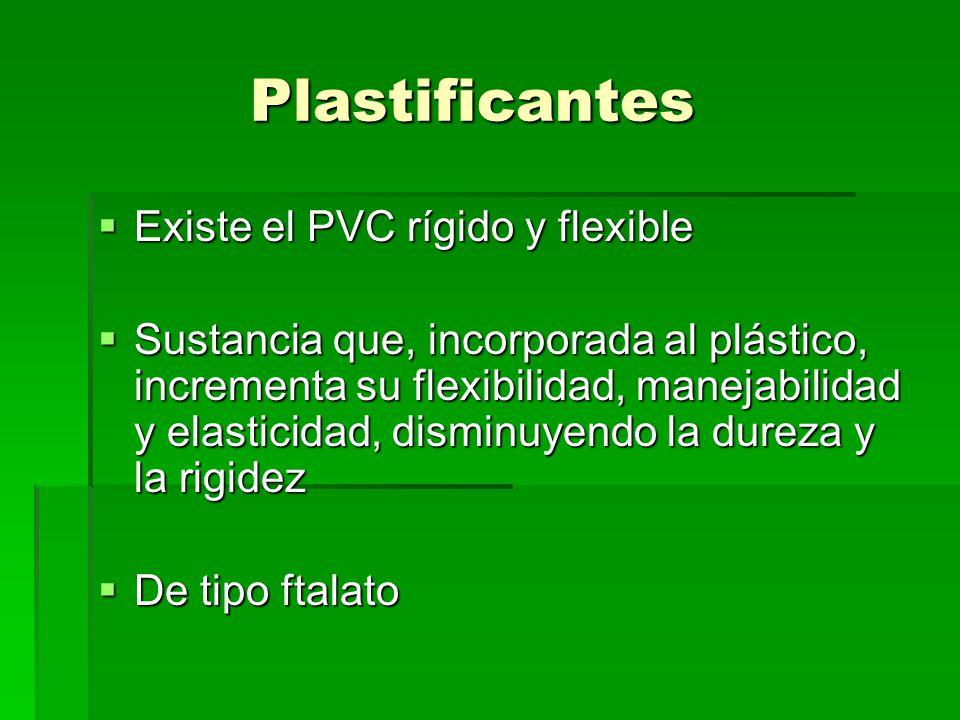 Plastificantes Existe el PVC rígido y flexible Existe el PVC rígido y flexible Sustancia que, incorporada al plástico, incrementa su flexibilidad, man