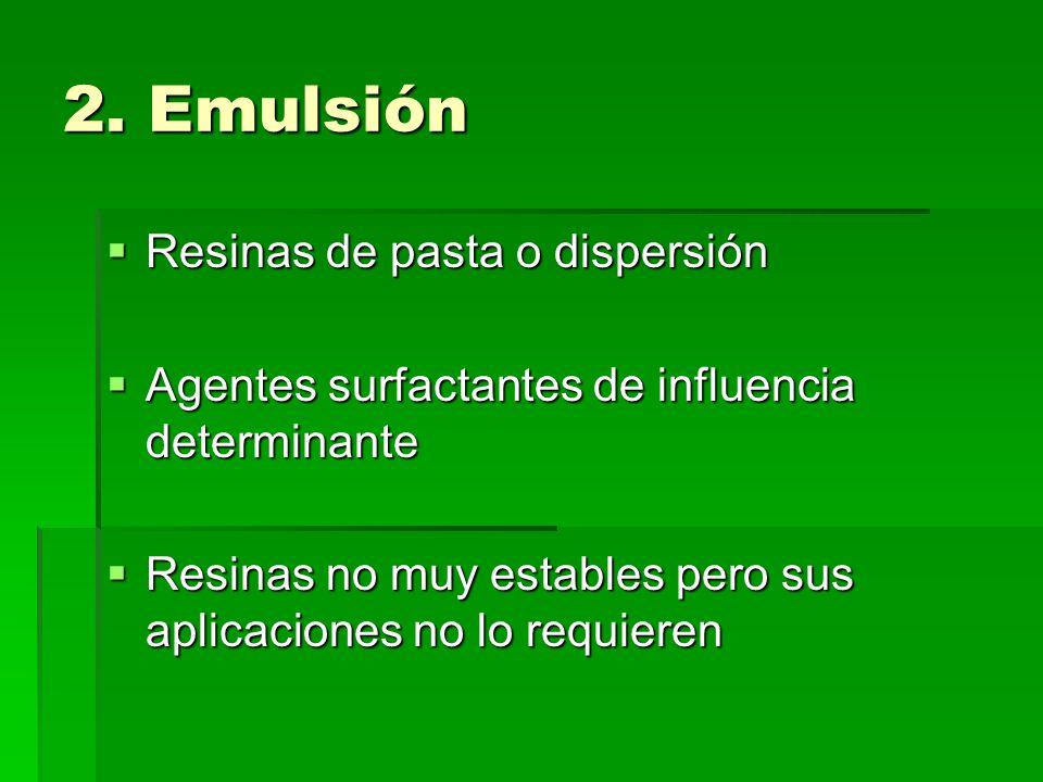 2. Emulsión Resinas de pasta o dispersión Resinas de pasta o dispersión Agentes surfactantes de influencia determinante Agentes surfactantes de influe