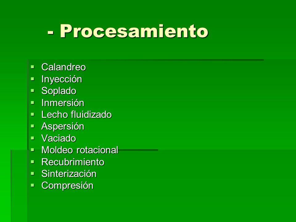 - Procesamiento Calandreo Calandreo Inyección Inyección Soplado Soplado Inmersión Inmersión Lecho fluidizado Lecho fluidizado Aspersión Aspersión Vaci