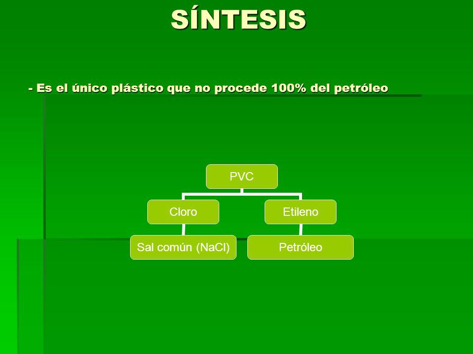 SÍNTESIS - Es el único plástico que no procede 100% del petróleo PVC Cloro Sal común (NaCl) Etileno Petróleo
