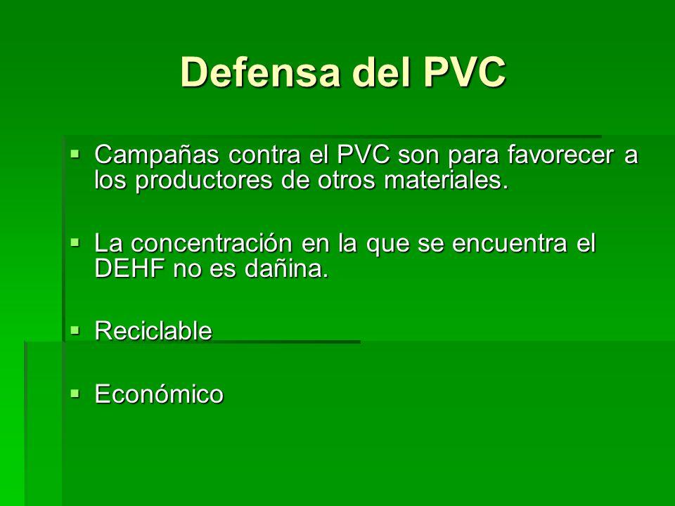 Defensa del PVC Campañas contra el PVC son para favorecer a los productores de otros materiales. Campañas contra el PVC son para favorecer a los produ