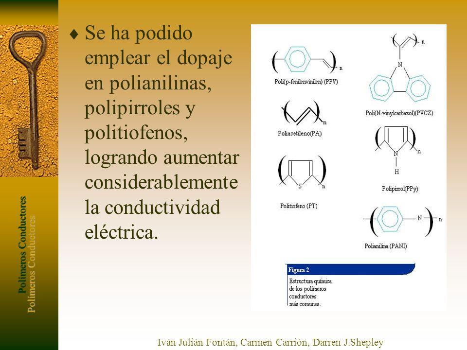 Polímeros Conductores Iván Julián Fontán, Carmen Carrión, Darren J.Shepley Se ha podido emplear el dopaje en polianilinas, polipirroles y politiofenos