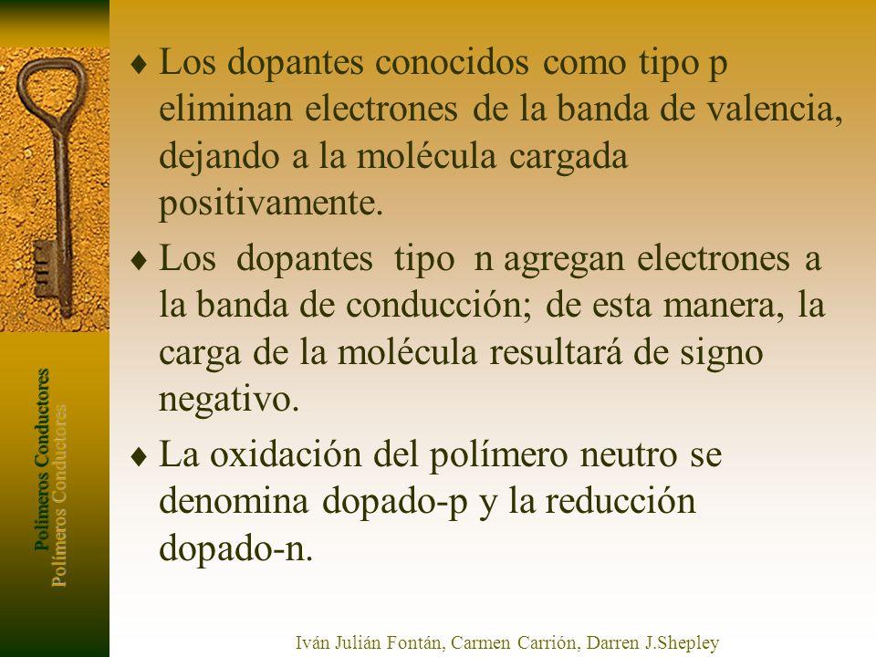Polímeros Conductores Iván Julián Fontán, Carmen Carrión, Darren J.Shepley Los dopantes conocidos como tipo p eliminan electrones de la banda de valen