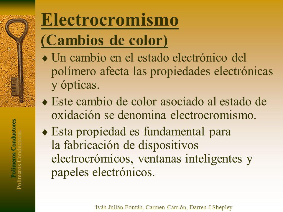 Polímeros Conductores Iván Julián Fontán, Carmen Carrión, Darren J.Shepley Electrocromismo (Cambios de color) Un cambio en el estado electrónico del p