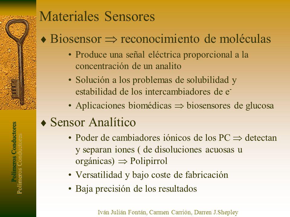 Polímeros Conductores Iván Julián Fontán, Carmen Carrión, Darren J.Shepley Materiales Sensores Biosensor reconocimiento de moléculas Produce una señal