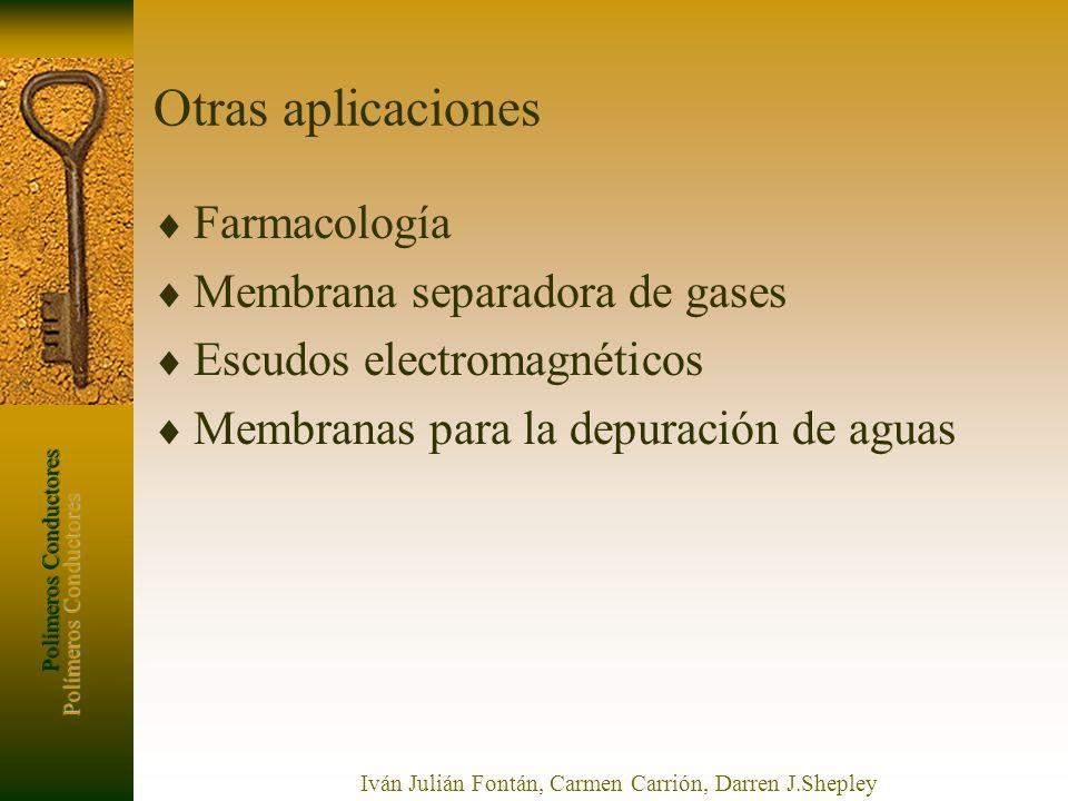 Polímeros Conductores Iván Julián Fontán, Carmen Carrión, Darren J.Shepley Otras aplicaciones Farmacología Membrana separadora de gases Escudos electr